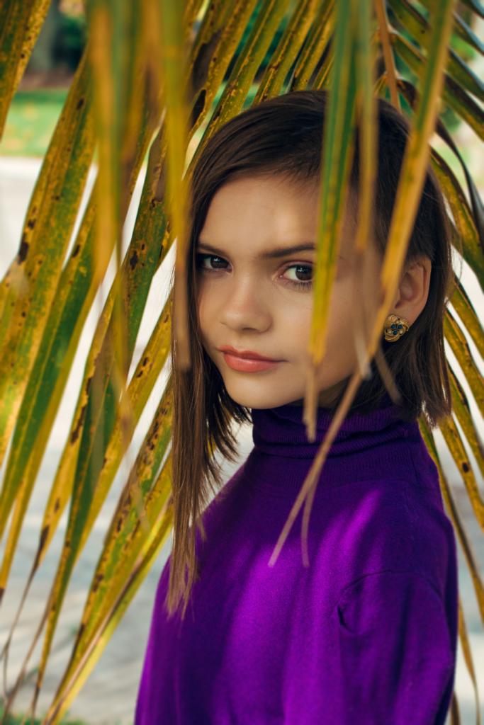 pre-teen girl contemplative