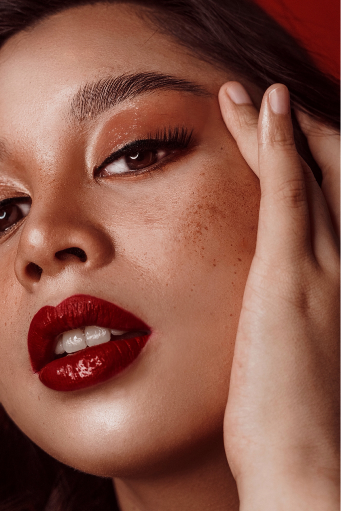 fall lipsticks main image woman with red lipstick