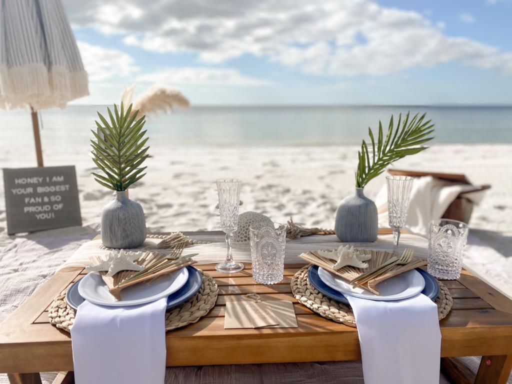 romantic beachside picnic