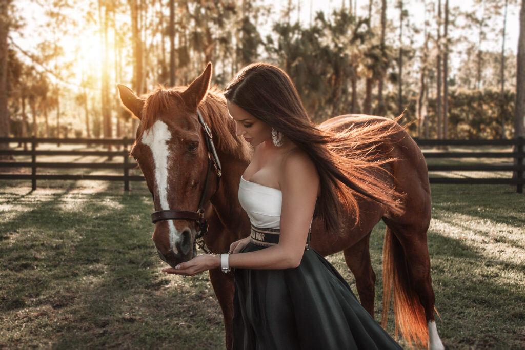 ashley gerry high fashion woman with her horse